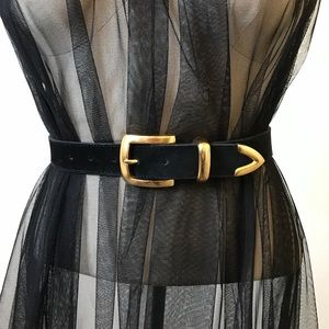 Amazing Vintage Black Suede & Gold Belt